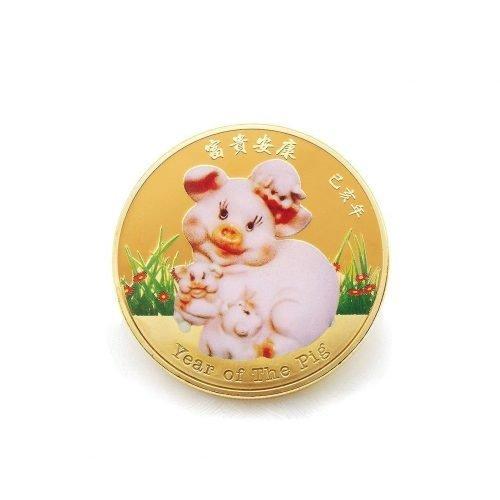 Gold Pig Coin Front White BG