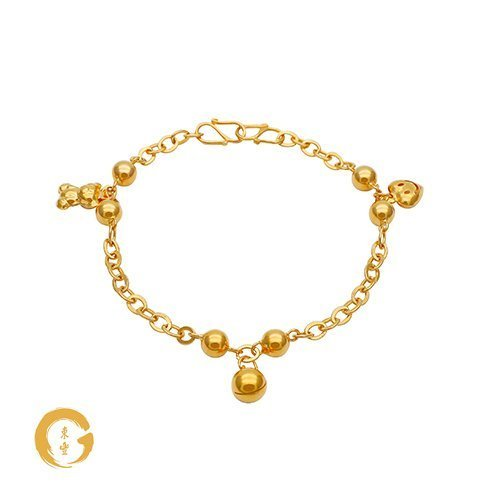 N2 NC12643 Orient Jewellers Baby Anklet 3 Charm (Heart, Bell, Bear)