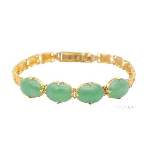 VJ254 4 Oval Jade Bracelet