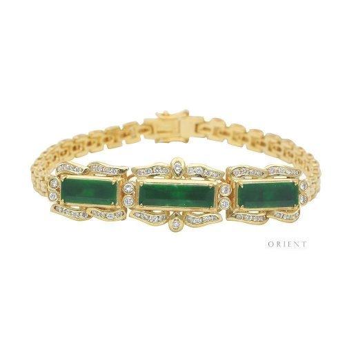 XL444 Rectangle Jade Diamond Bracelet