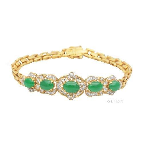 XL773 Graceful Flower Diamond Jade Bracelet